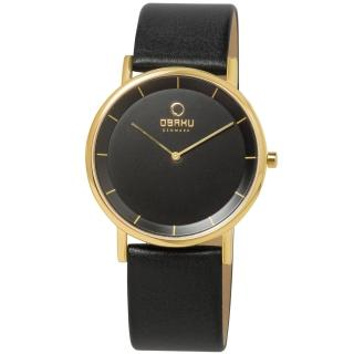 【OBAKU】纖薄哲學二針時尚腕錶(黑金V143XGBRB)