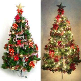 【聖誕裝飾特賣】台灣製7尺/7呎(210cm特級綠松針葉聖誕樹+紅金色系配件組+100燈鎢絲樹燈3串)