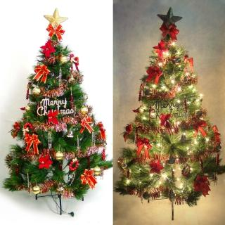 【聖誕裝飾特賣】台灣製8尺/8呎(240cm特級綠松針葉聖誕樹+紅金色系配件+100燈鎢絲樹燈5串)
