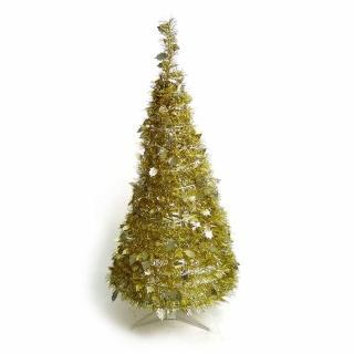 【聖誕裝飾特賣】4尺/4呎(120cm 創意彈簧摺疊聖誕樹 金色系)