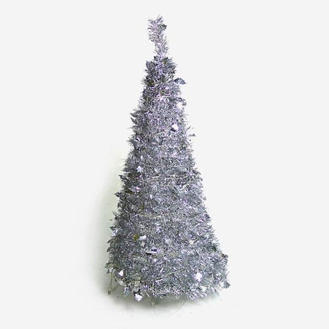 【聖誕裝飾特賣】4尺-4呎(120cm 創意彈簧摺疊聖誕樹 銀色系)