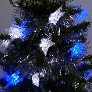 【聖誕裝飾特賣】聖誕燈 LED燈50燈星星造型燈-藍白光(省電高亮度 附IC控制器跳機)