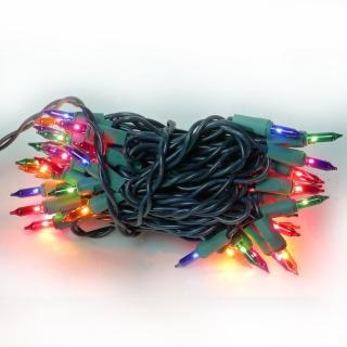 【聖誕裝飾特賣】聖誕燈串-50燈彩色樹燈(鎢絲燈-浪漫四彩色 可搭聖誕樹)