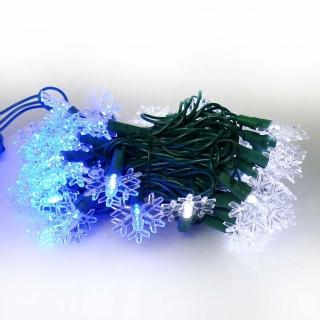 【聖誕裝飾特賣】聖誕燈 LED燈50燈雪花造型燈-藍白光綠線(省電高亮度 附IC控制器跳機)