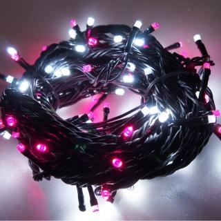 【聖誕裝飾特賣】100燈LED燈串聖誕燈-粉紅白光黑線(附控制器跳機 高亮度又省電)