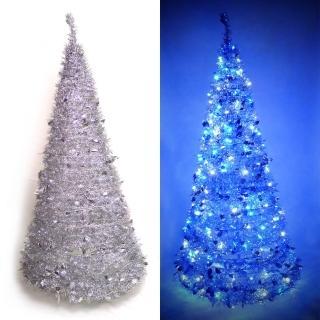 【聖誕裝飾品特賣】6尺/6呎(180cm 創意彈簧摺疊聖誕樹-銀色系+LED100燈串一條-9光色可選)