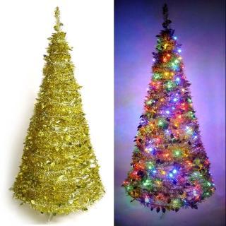 【聖誕裝飾品特賣】6尺/6呎(180cm 創意彈簧摺疊聖誕樹-金色系+LED100燈串一條-9光色可選)