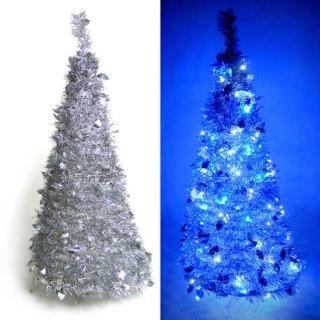 【聖誕裝飾特賣】4尺/4呎(120cm  創意彈簧摺疊聖誕樹 銀色系+LED100燈串一條 9光色可選)