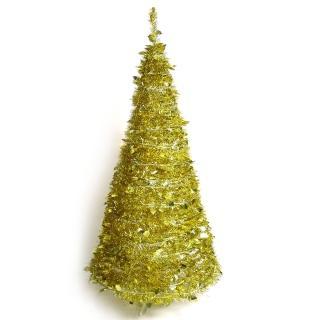 【聖誕裝飾特賣】6尺/6呎(180cm 創意彈簧摺疊聖誕樹 金色系)
