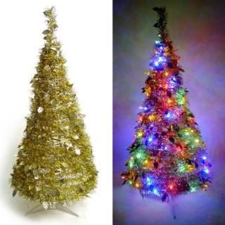 【聖誕裝飾特賣】4尺/4呎(120cm 創意彈簧摺疊聖誕樹 金色系+LED100燈串一條 9光色可選)