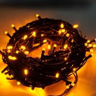 【聖誕裝飾特賣】100燈LED燈串聖誕燈-黃光黑線(附控制器跳機 高亮度又省電)
