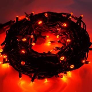 【聖誕裝飾特賣】100燈LED燈串聖誕燈-紅光黑線(附控制器跳機 高亮度又省電)