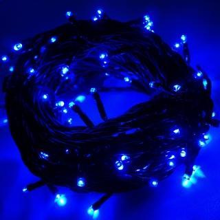【聖誕裝飾特賣】100燈LED燈串聖誕燈-藍光黑線(附控制器跳機 高亮度又省電)
