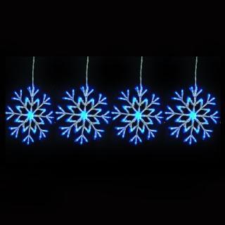 【聖誕裝飾特賣】聖誕燈裝飾燈LED燈四雪花片造型燈-192燈-藍白光(附控制器跳機)