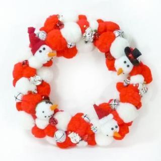 【聖誕裝飾特賣】絨毛球聖誕花圈(紅白雙色系)