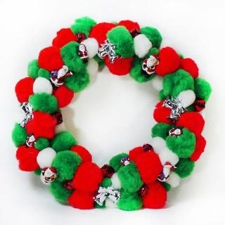 【聖誕裝飾特賣】絨毛球聖誕花圈(紅白綠三色系)
