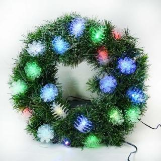 【聖誕裝飾特賣】20 吋LED松果燈光纖聖誕花圈