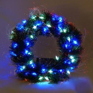 【聖誕裝飾特賣】20 吋LED星星燈光纖聖誕花圈