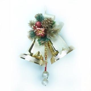 【聖誕裝飾特賣】5吋亮面雙鐘吊飾(金色)