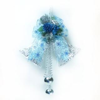 【聖誕裝飾特賣】6吋浪漫透明緞帶雙花鐘吊飾(藍銀色)
