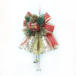 【聖誕裝飾特賣】4吋雙花鐘吊飾(紅金色)