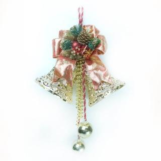 【聖誕裝飾特賣】6吋雙花鐘吊飾(紅金色)