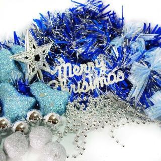 【聖誕裝飾特賣】聖誕裝飾配件包組合-藍銀色系(2尺(60cm)樹適用(不含聖誕樹 不含燈)