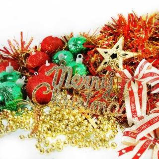 【聖誕裝飾特賣】聖誕裝飾配件包組合-紅綠金色系(2尺(60cm)樹適用(不含聖誕樹 不含燈)