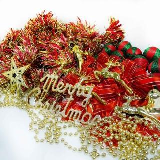 【聖誕裝飾特賣】聖誕裝飾配件包組合-紅金色系(3尺(90cm)樹適用(不含聖誕樹 不含燈)