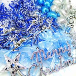 【聖誕裝飾特賣】聖誕裝飾配件包組合-藍銀色系(3尺(90cm)樹適用(不含聖誕樹 不含燈)