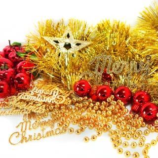 【聖誕裝飾特賣】聖誕裝飾配件包組合-紅蘋果金色系(2尺(60cm)樹適用(不含聖誕樹 不含燈)