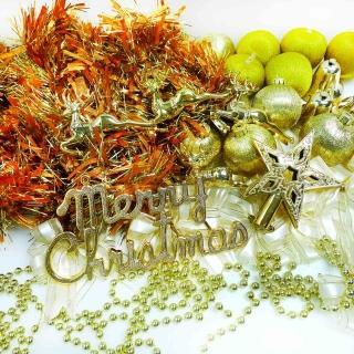 【聖誕裝飾特賣】聖誕裝飾配件包組合-純金色系(3尺(90cm)樹適用(不含聖誕樹 不含燈)