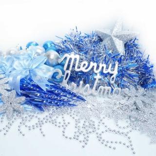【聖誕裝飾特賣】聖誕裝飾配件包組合-藍銀色系(4-5呎樹適用 不含聖誕樹 不含燈)