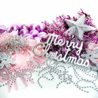 【聖誕裝飾特賣】聖誕裝飾配件包組合-銀紫色系(4-5呎樹適用  不含聖誕樹  不含燈)
