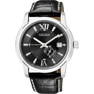 【CITIZEN】NP系列 精雕品味都會機械腕錶(皮帶-黑 NJ0050-00E)