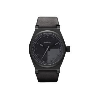 【DIESEL 】探索雷達個性腕錶-全黑/皮帶(DZ1560)