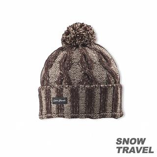 【SNOW TRAVEL】圓球防風保暖羊毛帽(咖啡)