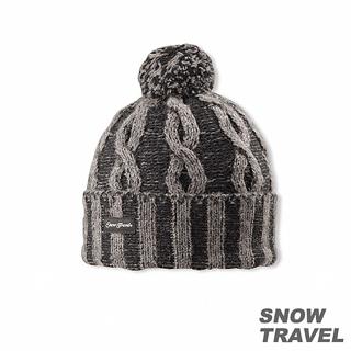 【SNOW TRAVEL】圓球防風保暖羊毛帽(黑色)