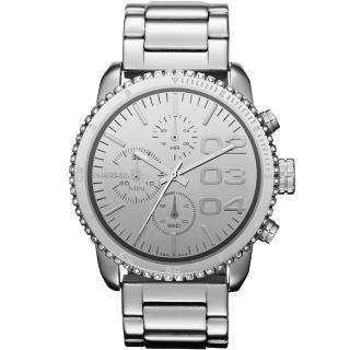 【DIESEL】忍者戰將時尚晶鑽計時腕錶-銀(DZ5337)
