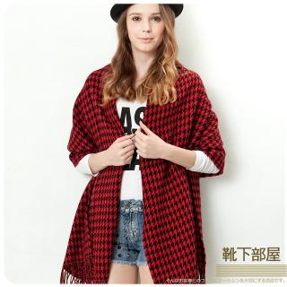 【靴下部屋】瑪麗外宿中˙千鳥格紋加大披肩圍巾(紅/黑)
