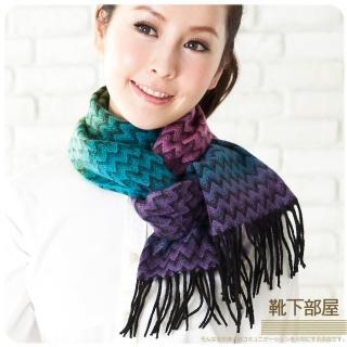 【靴下部屋】日安巴黎˙暖呢圍巾(紫粉霓采)