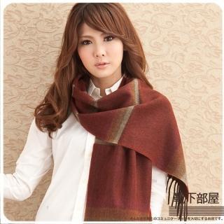【靴下部屋】日安巴黎˙線條織紋圍巾(酒棗紅系)