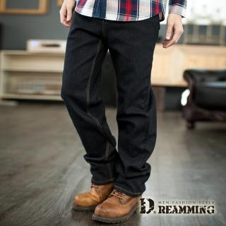 【Dreamming】保暖內磨毛伸縮中直筒牛仔褲(黑色)