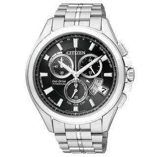 【CITIZEN 】王牌紳士光動能太金屬腕錶(銀黑 BY0051-55E)