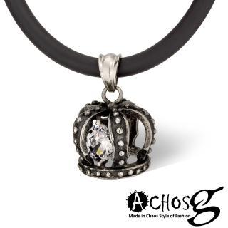 【ACHOS】魔幻加冕Magic crow 白 潮流吊墬搭配鍺鈦項圈