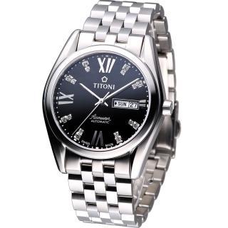 【TITONI】Airmaster 空霸 Day-Date 機械腕錶(93709S-386 黑)