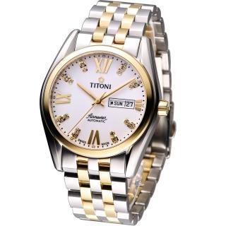 【TITONI】Airmaster 空霸Day-Date機械腕錶(93709SY-385 雙色款)