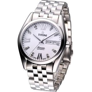 【TITONI】Airmaster 空霸Day-Date機械腕錶(93709S-385 白)