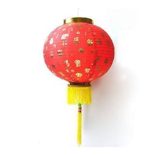 【農曆春節特選】16吋百福字大紅綢布燈籠(一組兩入不含燈)