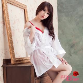 【流行E線】情挑薄紗睡袍-微透膚性感睡衣(A608)